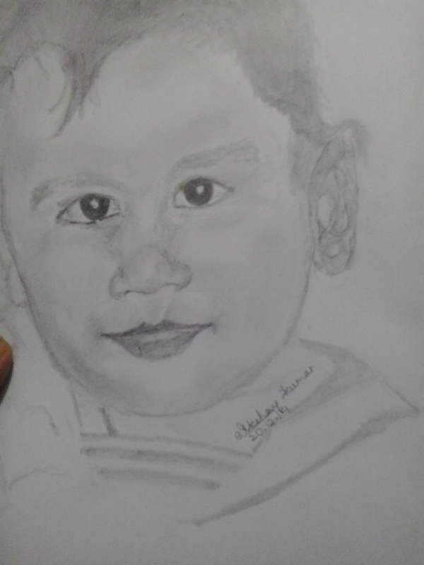 Pencil portait of baby
