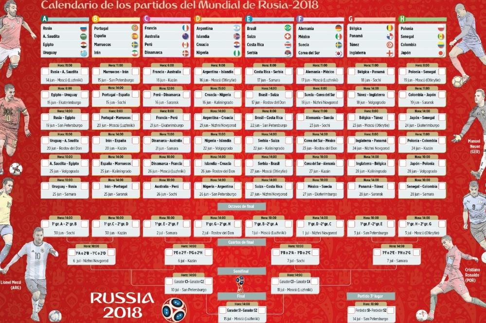 Calendario Mundial Rusia 2018.Calendario Del Mundial De Futbol Rusia 2018 Buscar De Todo