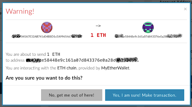 Bảng xác nhận ví và số lượng MyEtherWallet