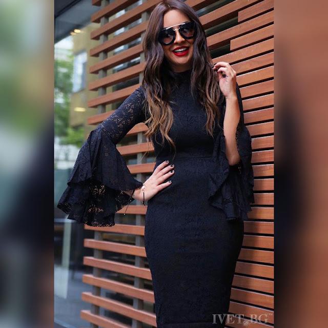 Μακρυμάνικο μίντι μαύρη  φόρεμα DONIKA BLACK