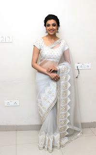 Kajal Agarwal Hot Stills In White Saree