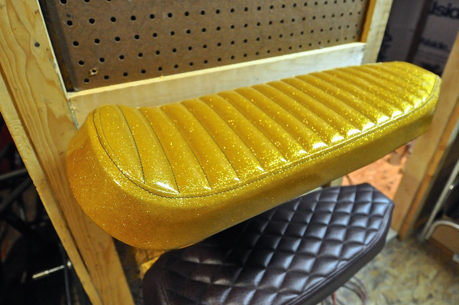 Counter Balance Motorcycles New Gold Metal Flake Tuck And Roll Seat