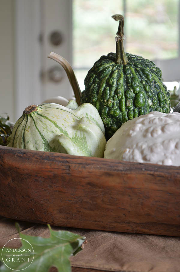 Mix different gourds together for fall in a bowl.  ||  www.andersonandgrant.com