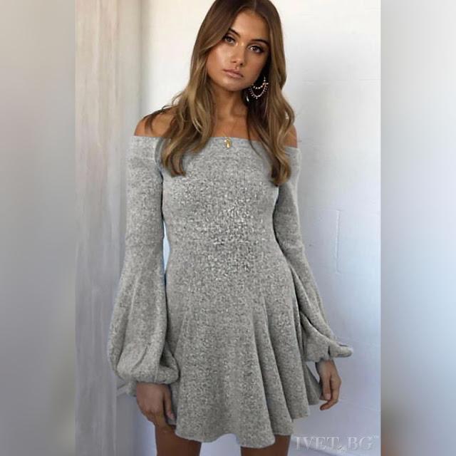 Μοντέρνο κοντό γκρι φόρεμα  AISHA