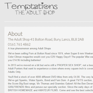 Temptations Bury Sex Shop website