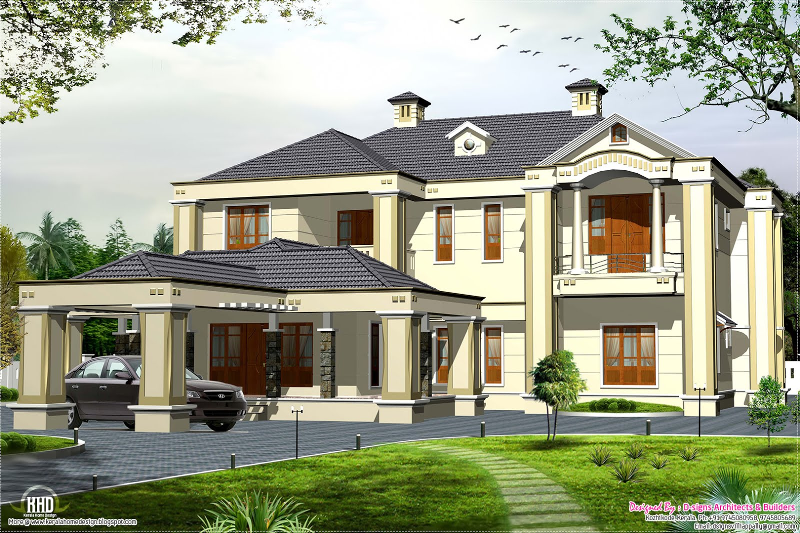 Colonial style 5 bedroom victorian style house kerala for Colonial luxury house plans