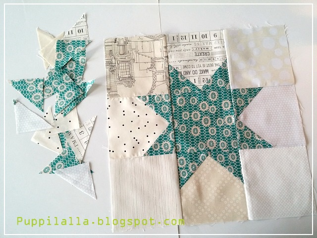 Stash Bee, Teal Star, Blue Star Block, low volume background, Puppilalla,