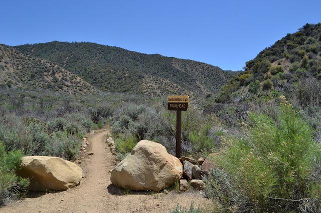 big sign at the Santa Barbara Canyon Trailhead