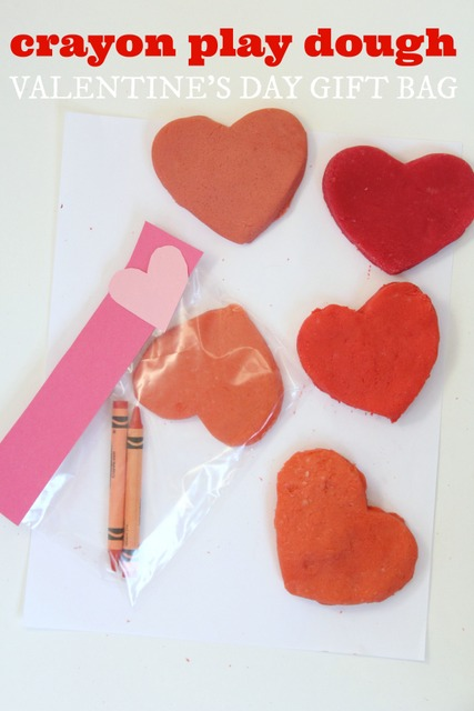 Crayon Play dough Valentine treat bags that don't use candy!