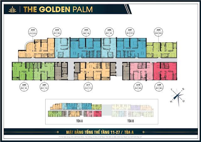 Mặt băng tổng thể tầng 11 - 27 tòa A chung cư The Golden Plam