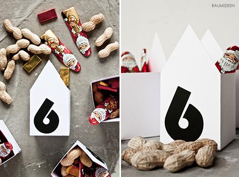 Nikolausverpackungen zum Selbermachen - Papierhaus mit Druckvorlage!