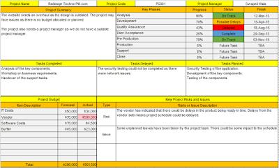 Excel Status Report
