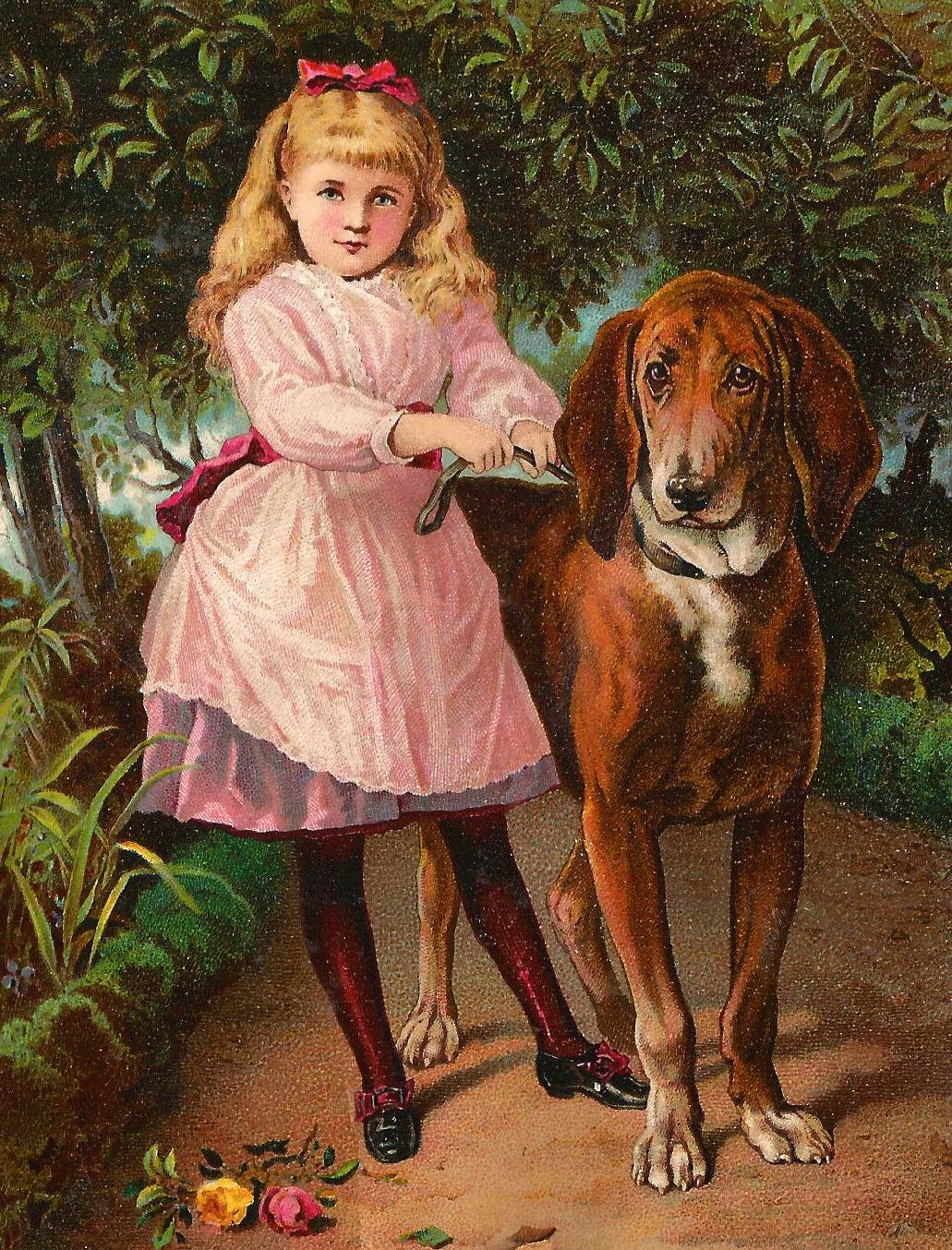 Antique Images: Vintage Digital Girl and Animal Clip Art Victorian ...