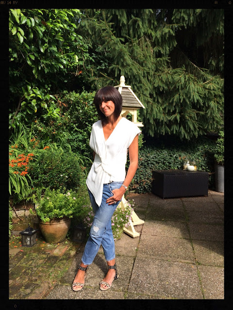 My Midlife Fashion, Zara Draped top, Distresed cigarette jeans, leopard print studded sandals