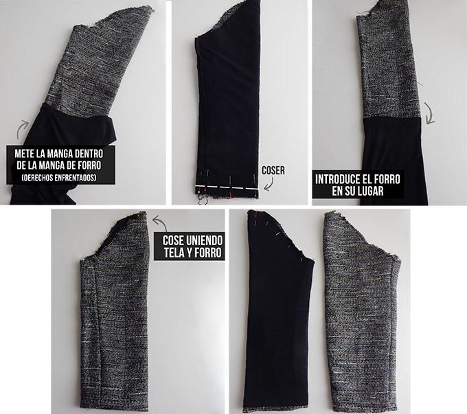 Diy coser mangas chaqueta chanel