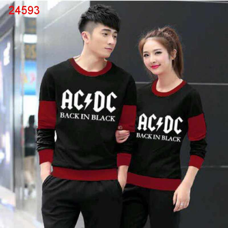 Jual Sweater Couple Sweater ACDC Black Maroon - 24593