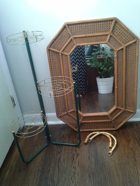 Thrifty Finds, Rattan mirror, metal plant stand, bamboo handles