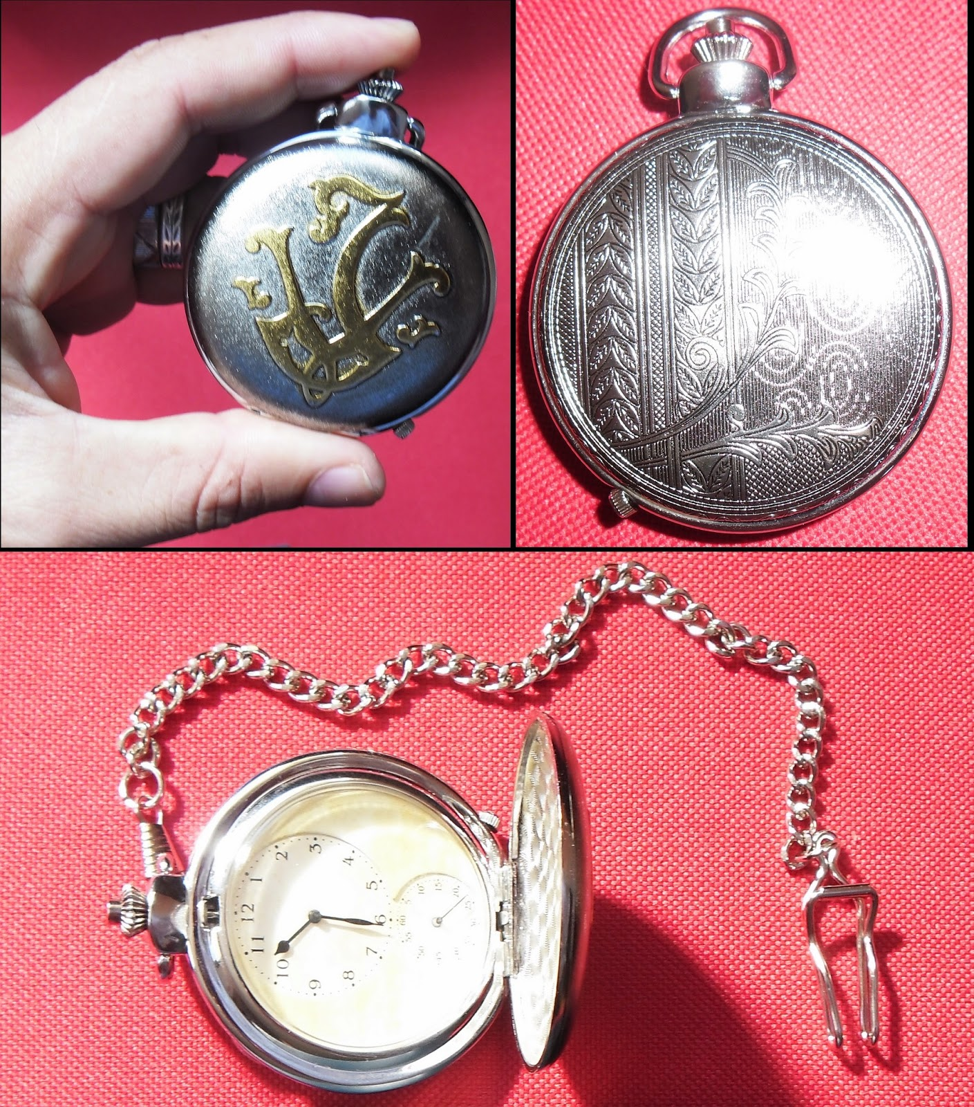 "fb3d95964b2 Na tampa do relógio tem um ""J"" e um ""V"" juntos na cor dourada"