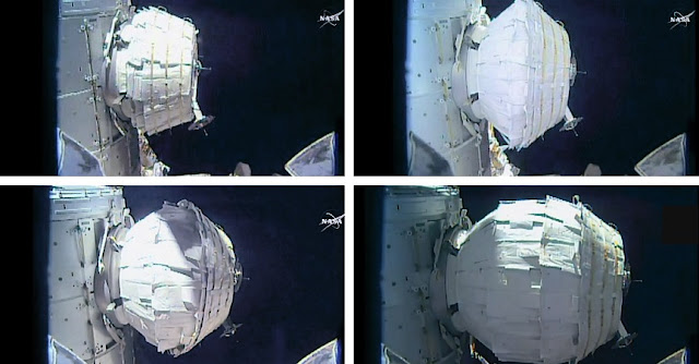 The BEAM expansion took several hours today as astronaut Jeff Williams sent two dozen pulses of air into the expandable module. Credit: NASA TV