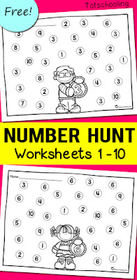Number Review Worksheets | Totschooling - Toddler ...