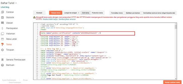 Pasang Yandex Webmaster
