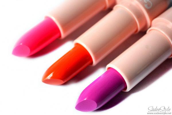 Colour Balm Lipsticks Rose, Orange and Red