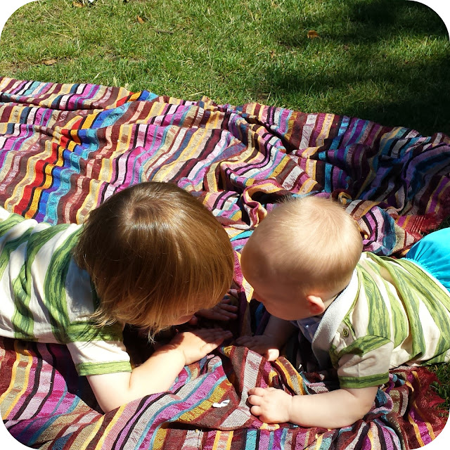 matching brothers, toddler and baby matching T-shirts, picnic time