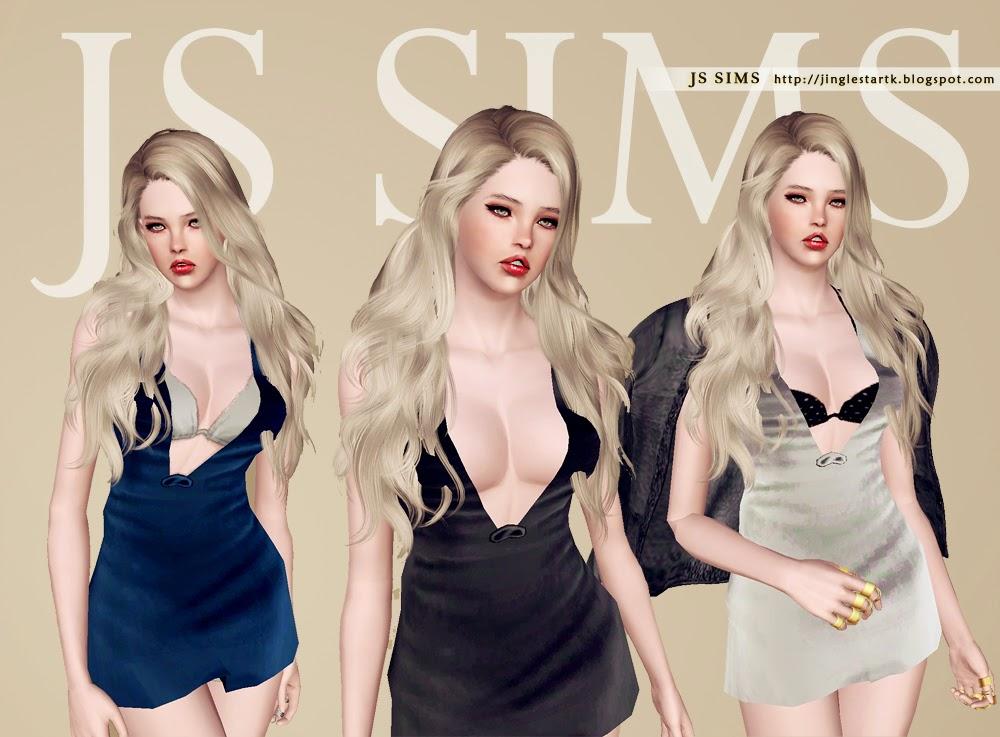 Snowwhitesdream Js Sims  Sexy Deep V Neck Dress