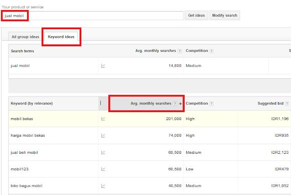 hasil pencarian di Google Keyword Planner