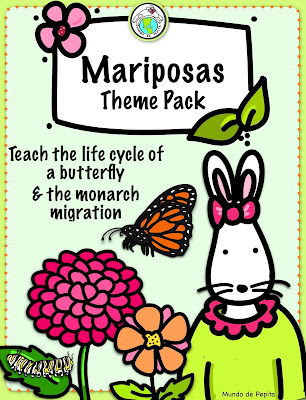 Mariposas Butterfly Theme Pack for Spanish Class