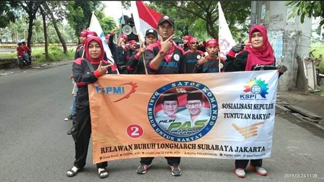 Longmarch Jakarta-Surabaya, KSPI Sosialisasi Menangkan Prabowo-Sandi