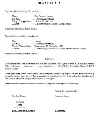 Contoh Surat Kuasa Pengambilan Bpkb Motor - Berbagi Contoh ...