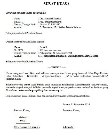 Contoh Surat Kuasa Pengambilan Kepengurusan Dan Perwakilan