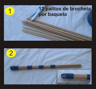 Como hacer baquetas con palos de brocheta