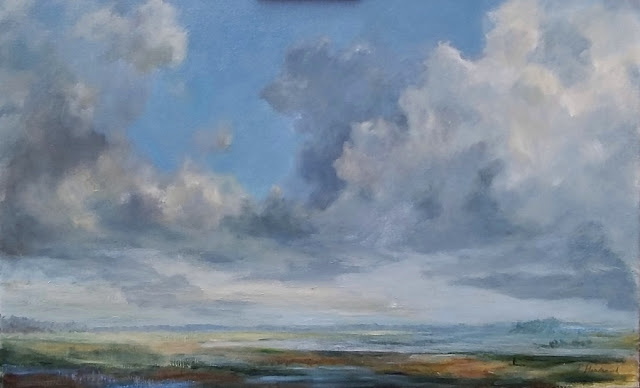 zomerwolken, IJssel, olieverf, klassiek geschilderd, galerie PaulaHondsmerkArt, clouds, oilpaint landscape,