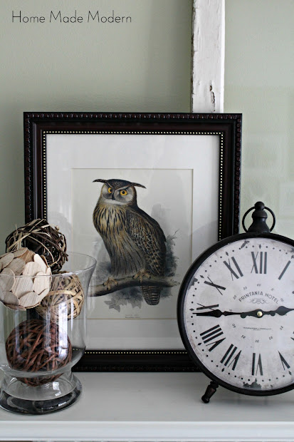 winter mantel with owl print