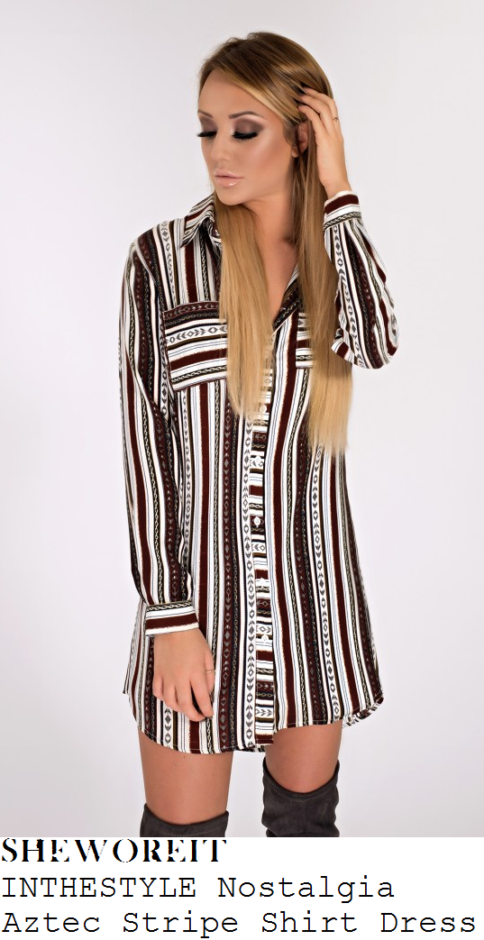 charlotte-crosby-black-white-burgundy-grey-aztec-stripe-print-long-sleeve-shirt-mini-dress-instagram