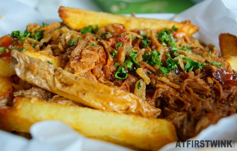 Bram's Gourmet Frites Pulled Pork BBQ Stew wide cut fries with skin close up