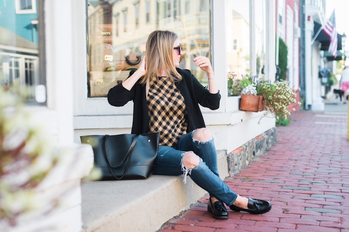 J.Jill tan and black gingham top