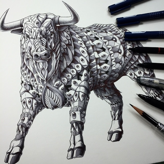 17-Raging-Bull-Ben-Kwok-Ornate-and-Intricate-Animal-Drawings-www-designstack-co