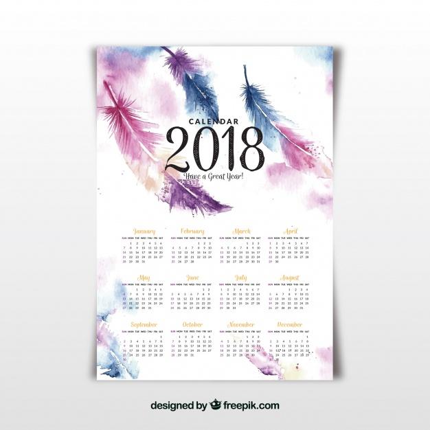 calendarios 2018 gratis de pared con plumas de acuarela