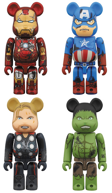 Marvel x Medicom Battle Damaged The Avengers Movie 100% Be@rbrick 4 Pack - Iron Man, Captain America, Thor & Hulk.jpg