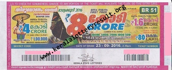 THIRUVONAM BUMPER 2016 Lottery Result 23-9-2016