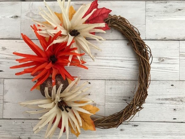 Completed autumn wreath