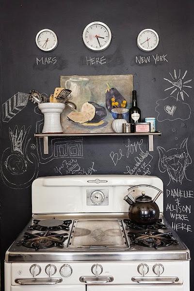 paredes de pizarra en la cocina
