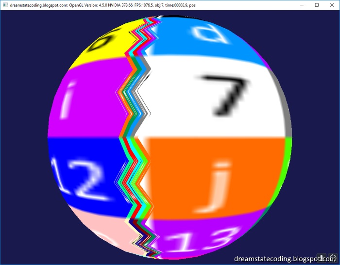 icosphere showing the texturing glitch that goes from pole to pole