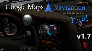 ets 2 google maps navigation night version v1.7