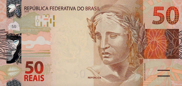 Brazilian Currency 50 Reals banknote 2010 Effigy of the Republic