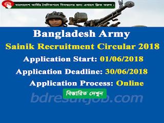 Bangladesh Army Sainik Recruitment Circular 2018