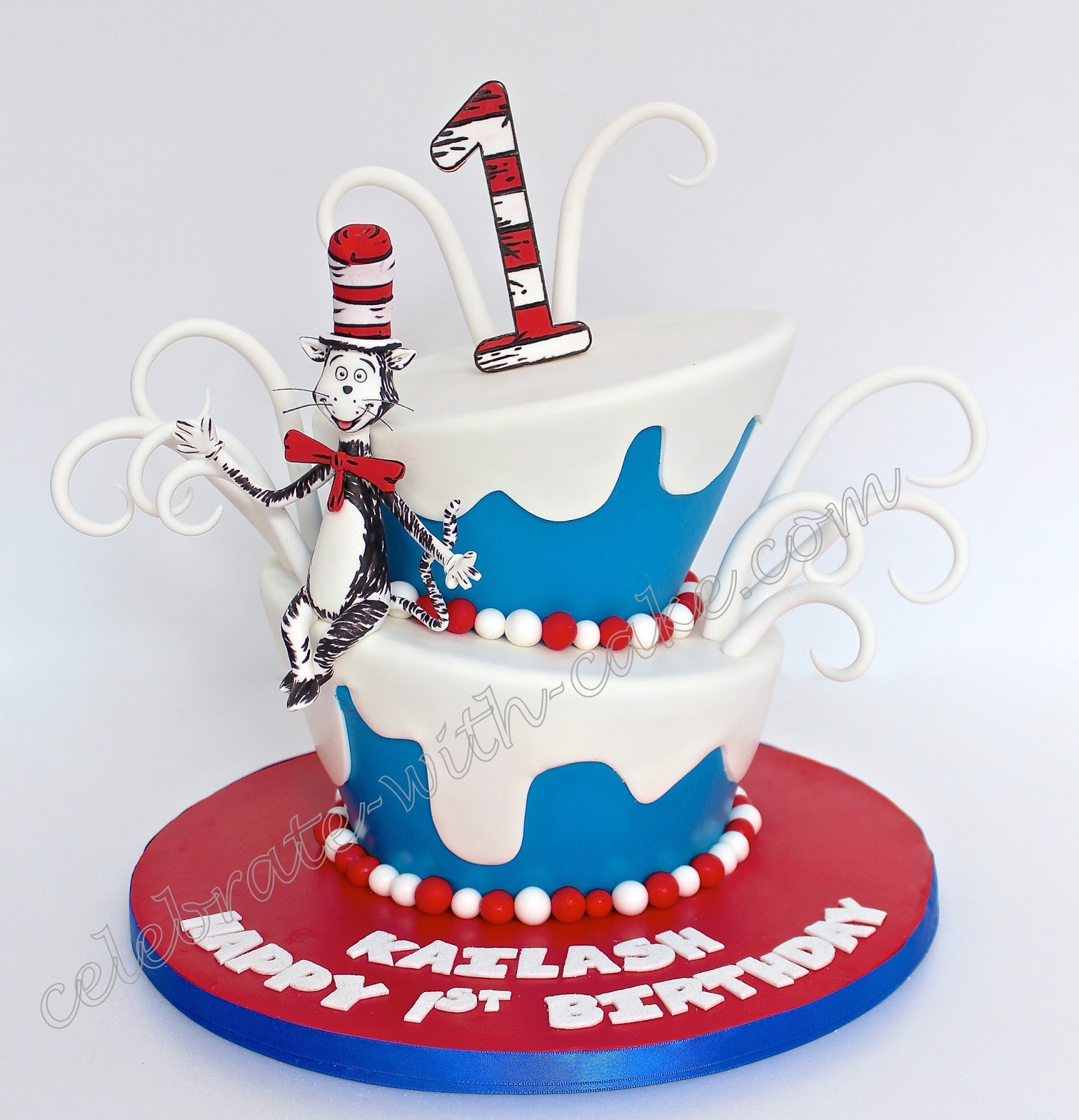 Marvelous Celebrate With Cake Dr Seuss Topsy Turvy 2 Tiers Cake Funny Birthday Cards Online Alyptdamsfinfo